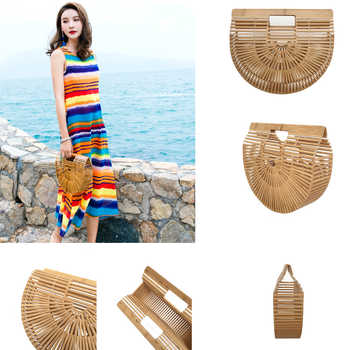 Bamboo Bags for Women 2019 Beach Handbags Semicircle Moon For Kids And Ladies Totes Summer Woman's Bag - DISCOUNT ITEM  35% OFF All Category