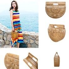 Sacos de bambu para as mulheres 2019 bolsas de praia semicírculo lua para crianças e senhoras totes verão saco da mulher
