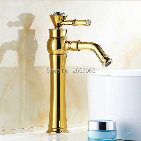 Livraison gratuite hôtel or robinet or salle de bains robinet Royal bassin robinets cristal diamant poignée évier robinet pivotant bec ZR422