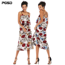 PGSD Summer Holiday casual Sleeveless backless flower printing slim sling mid-length chiffon Dress female Chiffon women clothes