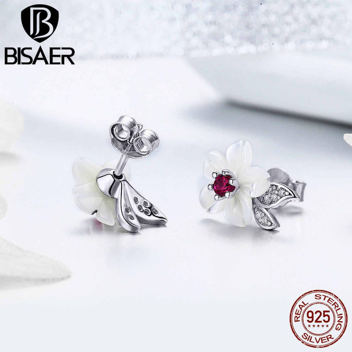 BISAER 925 הכסף Blooming מעטפת פרח עגילי סחלב פרח קטן נשים עגילי סטרלינג כסף תכשיטי EFE055