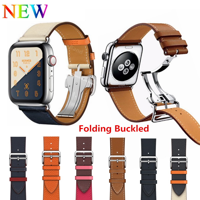 Leather Single Tour Deployment Buckle WITH LOGO Watchband for iWatch 44MM 40MM Replacement Wristband for Apple Watch Strap BeltLeather Single Tour Deployment Buckle WITH LOGO Watchband for iWatch 44MM 40MM Replacement Wristband for Apple Watch Strap Belt