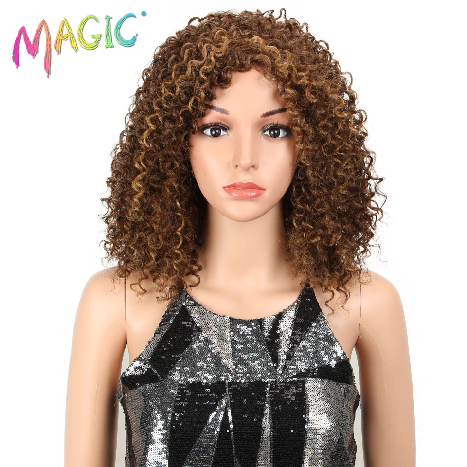 Magic Wigs Heat Resistant Hair Ombre Afro Wig Kinky Curly Wigs For Black Women Blonde Mixed Brown 14 Inch Synthetic Wigs