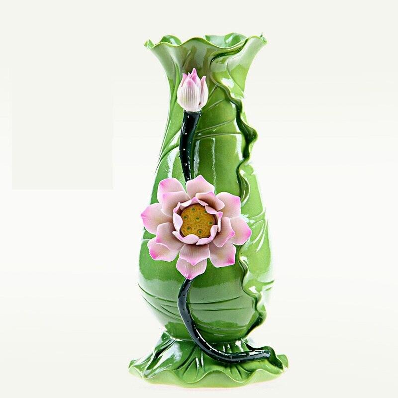 Vase à fleurs et feuilles de Lotus chinois traditionnel céramique décorative Art populaire bouddhiste artisanat accessoires gland embellissement R1926