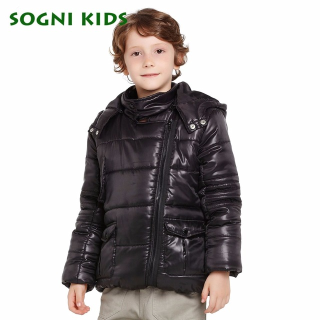 SOGNI KIDS Christmas Boys Winter Coat Brand Children Clothes for Boys Cotton-jacket Coat Long Sleeves Warm Hooded Boys Parkas