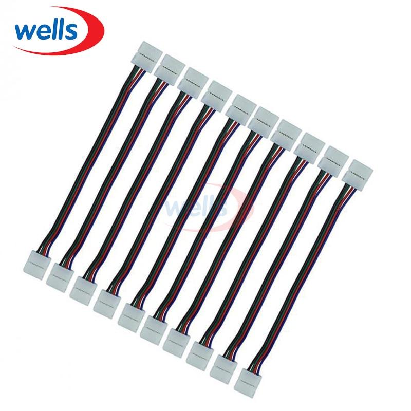 100 pçs/lote 4 4pins RGB conector, conector tira, RGB connector, Duplo 4ins conector para RGB luz de tira