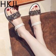 купить HKJL Ladies' flat sandals 2019 new lady's shoe all-weather bear fairy wind student Roman one shoe two slippers A209 дешево