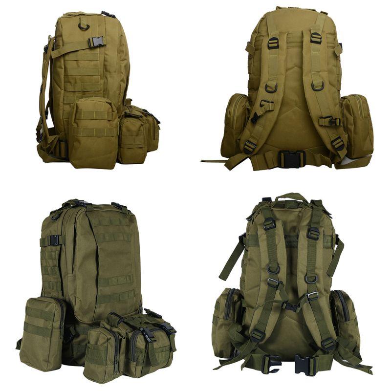 Large Capacity Waterproof Nylon Outdoor Military Rucksacks Backpack Hike Camping Bag New Style 50L 2019 High