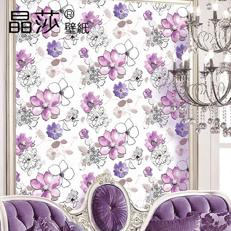 New Pastoral  Hand-painted Wallpaper Purple Flower For Wedding Room Walls 3D Mural Living Room TV Background Art Wallpaper Roll