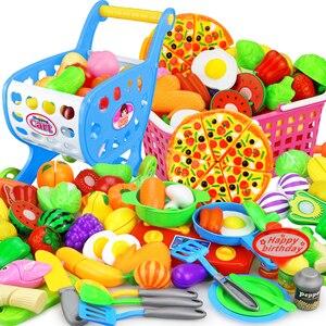 Image 1 - 12 23 adet çocuk mutfak oyna Pretend oyuncaklar kesme meyve sebze gıda minyatür Play yapmak ev eğitim oyuncak hediye kız çocuk için