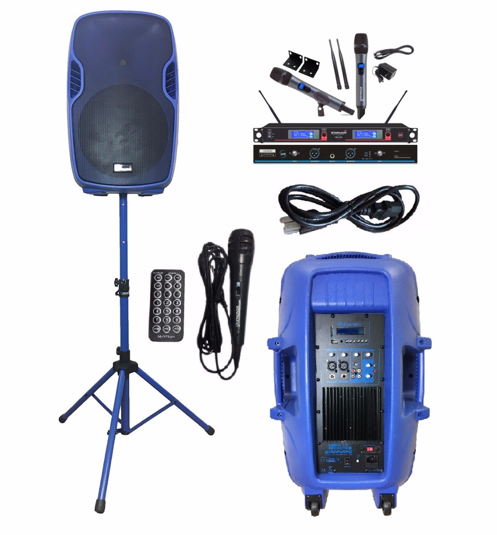 STARAUDIO SSBM-15RGB 15 3500W Power Active PA DJ USB SD FM BT MP3 Stage Speaker W/2CH UHF Headset Mics Stand Wired Microphones