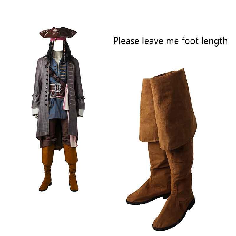 Piratas del Caribe Cosplay botas capitán Jack Sparrow Cosplay zapatos los hombres muertos No cuentan cuentos Salazar Revenge Accesorios