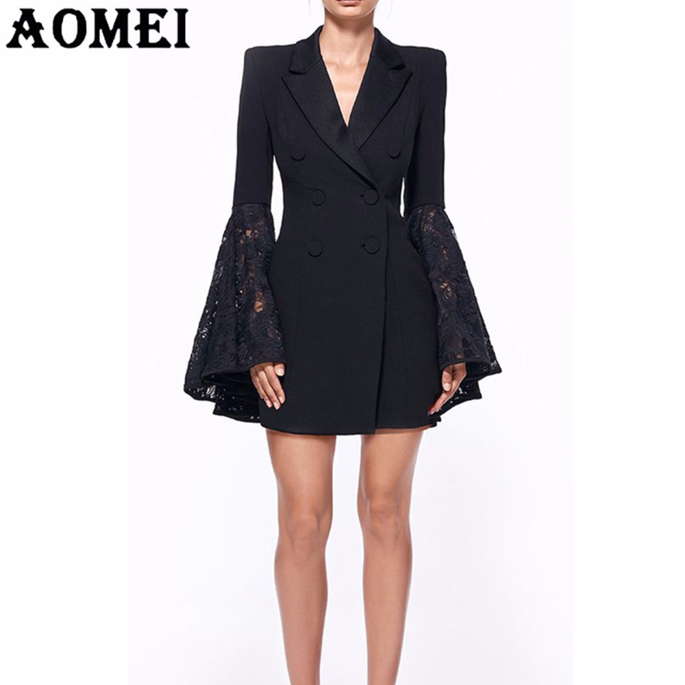 Women Long Blazer Fashion Lace Trim Suit Black With Lace Patchwork Flare Sleeves Office Ladies Clothing Double Button Blasers