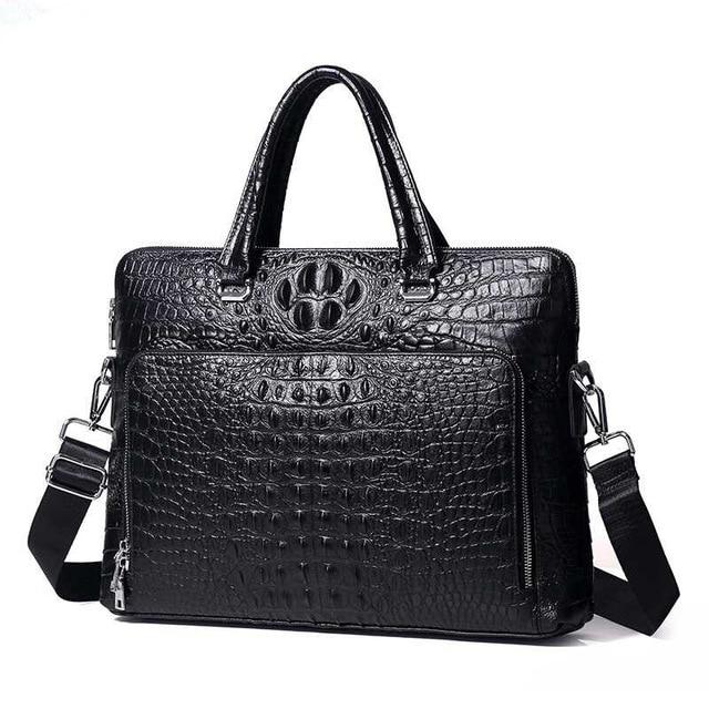 New Luxury Cow Real Genuine Leather Business Men's Briefcase Male Briefcase Shoulder Bag Alligator Messenger Tote Computer Bag