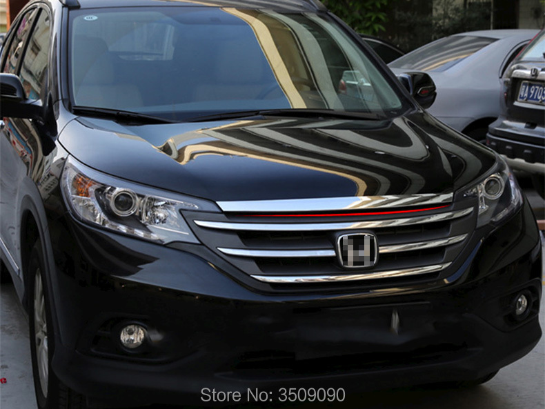 For Honda CRV CR-V 2012-2016 Chrome Front Hood Trim Cover Bonnet Grill Lip Molding Bar Garnish Mesh Car Styling for suzuki sx4 s cross crossover 2014 2015 2016 stainless steel front hood grill cover bonnet trim cover car styling accessory