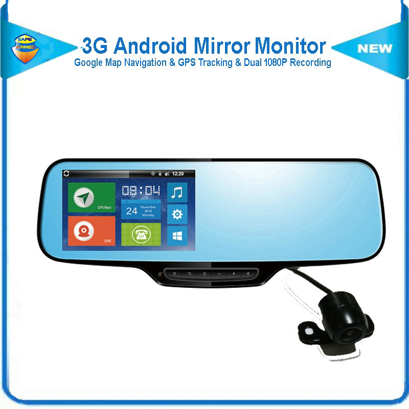3G Android Mirror Car DVR with Tri-Camera & Google Map Navigation & GPS Track & 1080P Dual Recording with Forward & Rear Camera