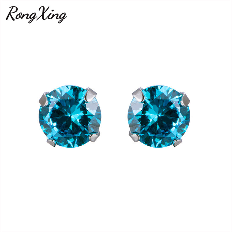 Rongxing Charming Round Lake Blue Cz Anium Steel Stud Earrings For Women Men Vintage Fashion Stainless Smt1189 In From