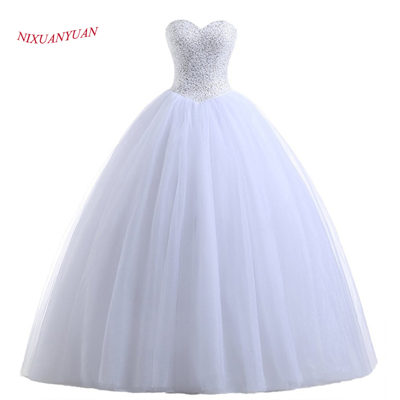 NIXUANYUAN Real Photos Princess White Ivory Tulle Ball Gown Bröllopsklänning 2018 Beaded Sweetheart Brudklänning Vestido de Noiva