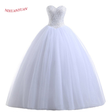 NIXUANYUAN Real Photos Princess White Ivory Tulle Ball Gown Wedding Dress 2018 Beaded Sweetheart Bridal Gown vestido de noiva