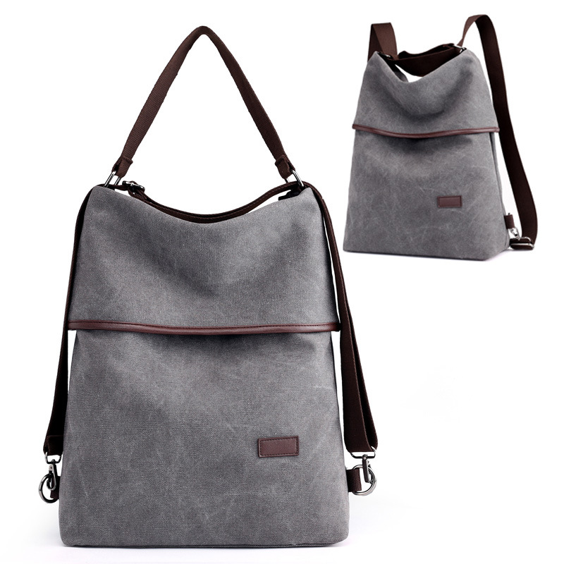 Vintage Canvas Convertible Backpack Purse Women 15.6 Inch Laptop Backpack Large Capacity Shoulder Bag Crossboday Bag Lightweight