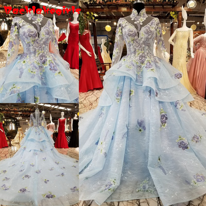12885 2018 Neue Die Party Prom High-end Luxus Stickerei Elegante Kapelle Zug Volle Hülse Vintage Robe Abendkleider