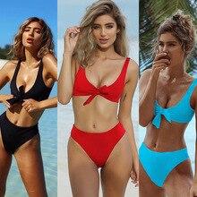Front Knot Hot Pink Bikini Set Thong Swimsuit 2018 Sexy Bandage High Waist Biquini Women Swimwear Push up brazilian Bathint Suit