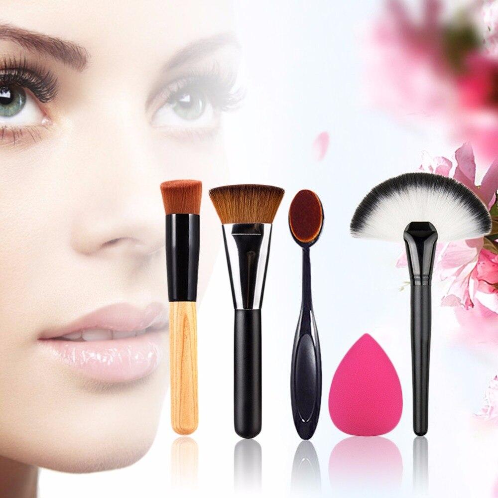 New 5pcs/set Makeup Brush Powder Blush Foundation Brush Sponge Puff Contour Brush Beauty Face Tools Fashion Women Cosmetics Kits the johns hopkins guide to diabetes – for today and tomorrow