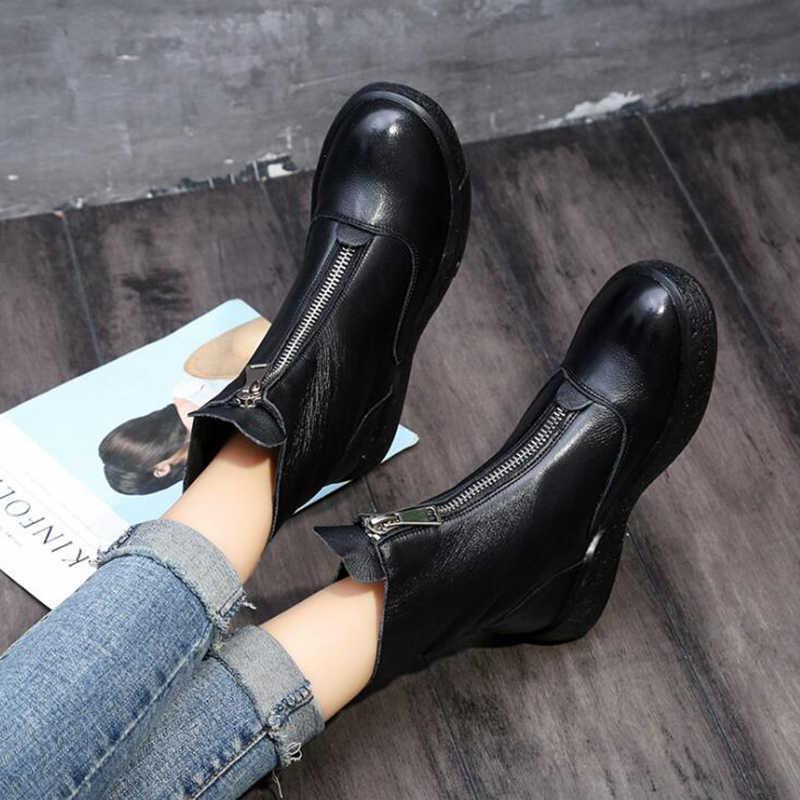 Kış hakiki deri kadın botları kadınlar orijinal el yapımı ayakkabı kadın retro fermuar yarım çizmeler kaymaz sıcak kadın çizmeler c2