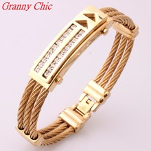 Granny Chic New Design Gold Wire Cable Bangle Men's Crystal CZ Bracelets Bangles Fashion Stainless Steel Men Women's Jewelry