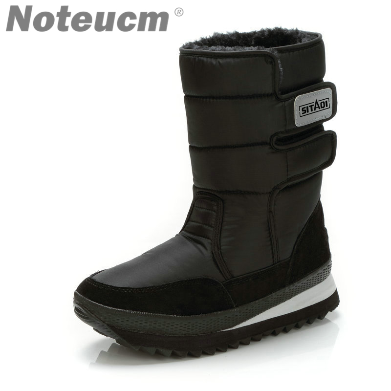 3dc14d0e711 US $26.89 |2018 Male winter warm black Men flat long casual Ankle snow  boots with Fake fur boots waterproof quilt shoes for Men snow boots-in Snow  ...