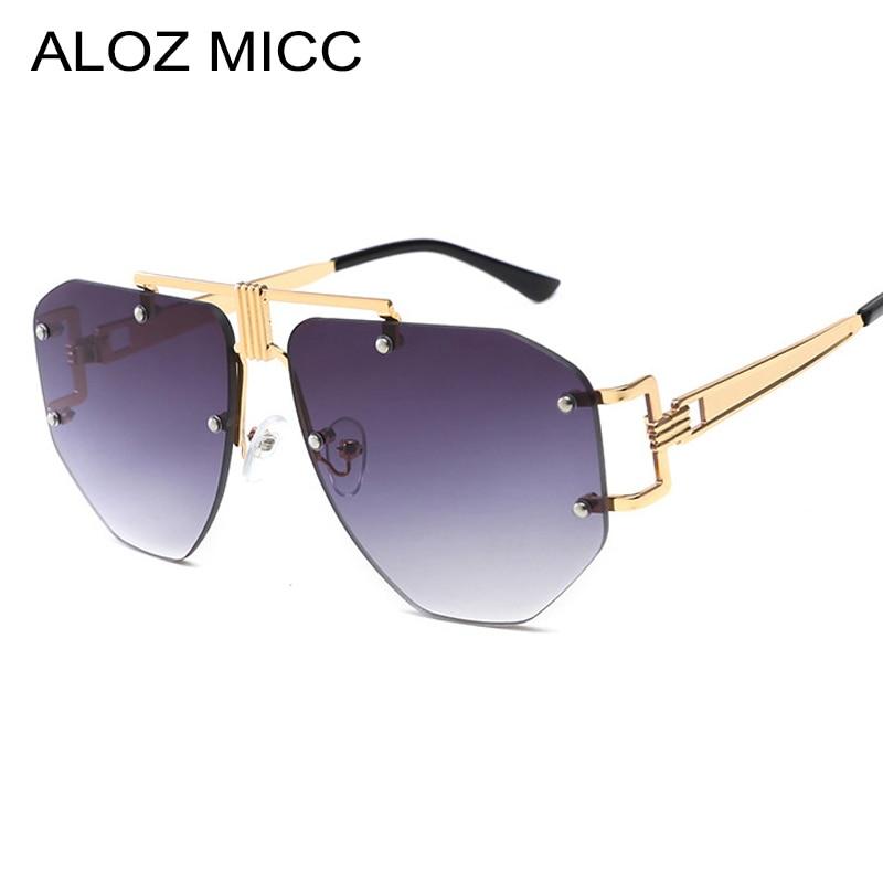 ALOZ MICC Oversized Frameless Sunglasses Ladies Women Luxury Metal Punk Sun Glasses Men Brand Design UV400 Goggles Oculos Q67