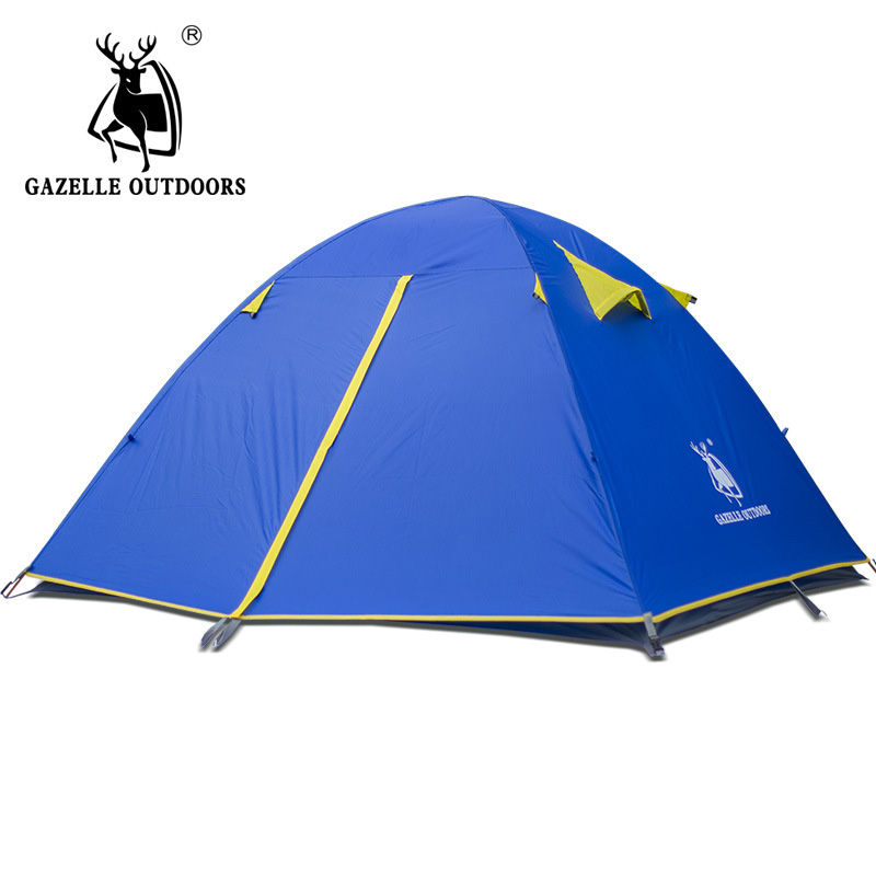 GAZELLE NEW Camping Tent Double Layer 2-4 Person Waterproof Outdoor for Hiking Hunting Picnic tent camping tents coolwalk 3 4 person dome tent windproof waterproof double layer tent outdoor hiking camping beach tent picnic family tents