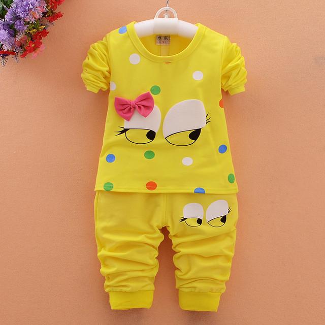 Yue Yue sp06 Gato bebê menina roupa dos miúdos das crianças meninas conjuntos de mangas compridas terno bonito design casual t-shirts e calças