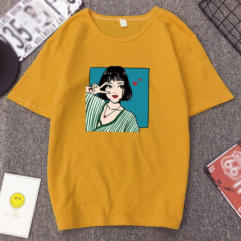 Été Cartoon belles filles imprimé femmes T-shirt solide haut col en o femme T-shirt décontracté lâche à manches courtes haut pour fille