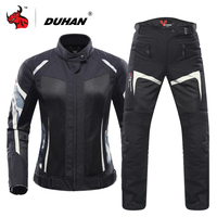 DUHAN Women Motorcycle Jacket Summer Breathable Mesh Moto Jacket Protective Gear Motorcycle Suit Motorbike Clothing Set Black