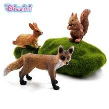 Simulación de zorro pequeño, liebre, conejo y ardilla, modelo de animal del bosque, figura de decoración de plástico, juguete educativo, figurita de regalo para niños