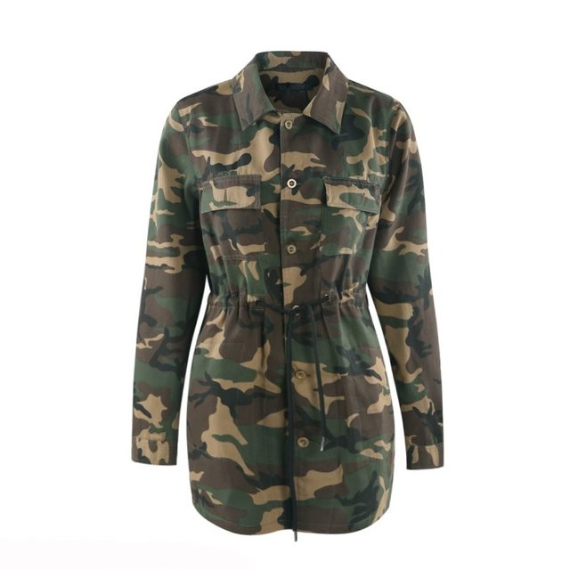 64bb695fa18 2018 New Fashion Casual Plus Size 4XL Women Coats Slim Lapel Camouflage  Lace-Up Button Pocket Girls Simple Army Green Jackets