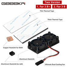 GeeekPi Original Dual Fan Optional Version! Heatsink Cooler with Double Cooling Fans For Raspberry Pi 3 B Plus / 3 B(China)