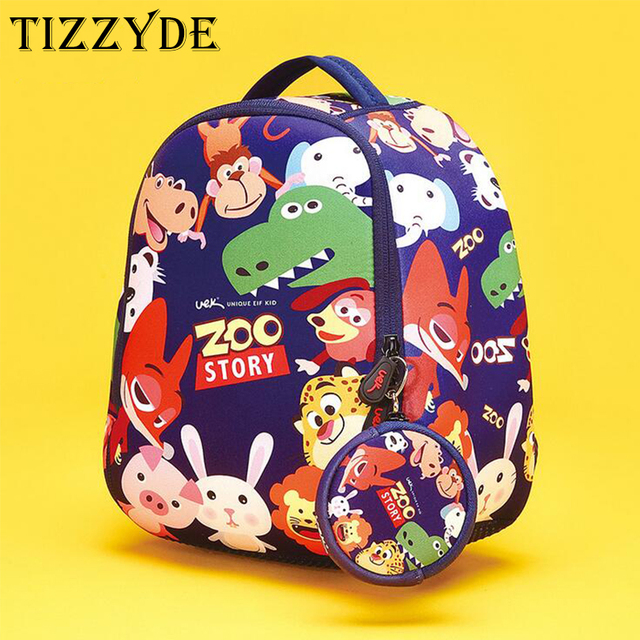 c1e6df9921 TIZZYDE 2017 Zoo Story Children Cartoon School Backpack Female High Quality  1-6 Years Old