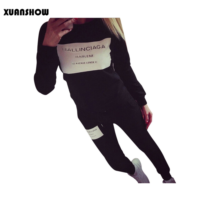 XUANSHOW moda Mujer ropa deportiva Otoño Invierno impreso letra chándales manga larga traje Casual trajes Mujer 2 unidades conjunto