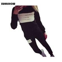XUANSHOW אופנה נשים ספורט סתיו חורף מודפס מכתב אימוניות ארוך שרוול מזדמן חליפת תחפושות Mujer 2 חתיכה סט 5XL