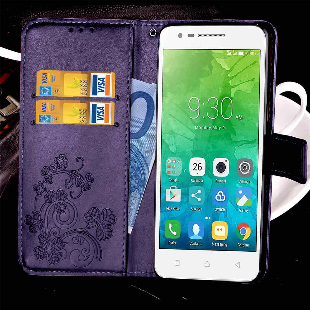 For Lenovo C2 Case Lenovo k10a40 Case Lucky Four Leaves Pattern Leather  Wallet Flip Case for Lenovo Vibe C2 k10a40 Couqe