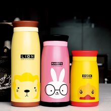 1PC Cute Candy colors Cartoon Animal Thermos Cup Bottle Stainless Steel Coffee milk Vacuum kettle For school outdoor NY 005
