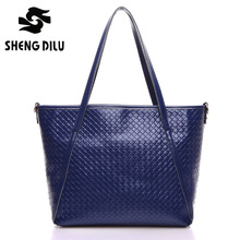 2016 Large Capacity Fashion Women's Shoulder Bags Brief Embossed Genuine Leather Portable Bag