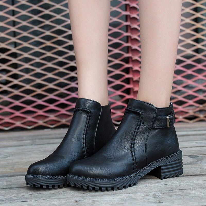 43 Plataforma marrón Tacón Negro Botas Tobillo Zapatos 2018 Alta Talla Invierno Cuero Mujer De Otoño Calidad Para Grande SPWpTZvq