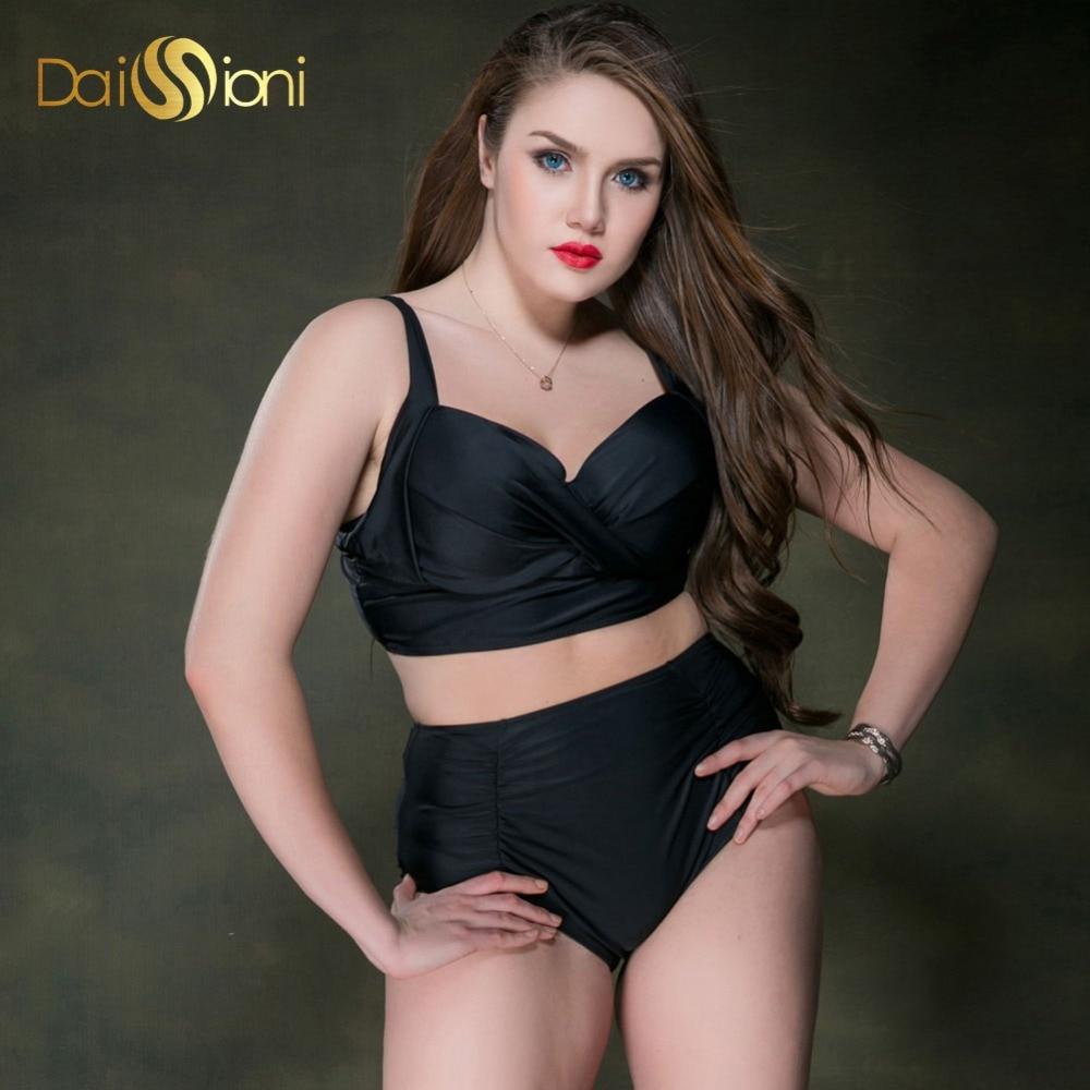 ФОТО Plus Size Black Swimwear High Waist Summer Bikinis Women 2017 Push Up Bikini Set Large Bust Swimsuits Underwire Solid Beach Wear