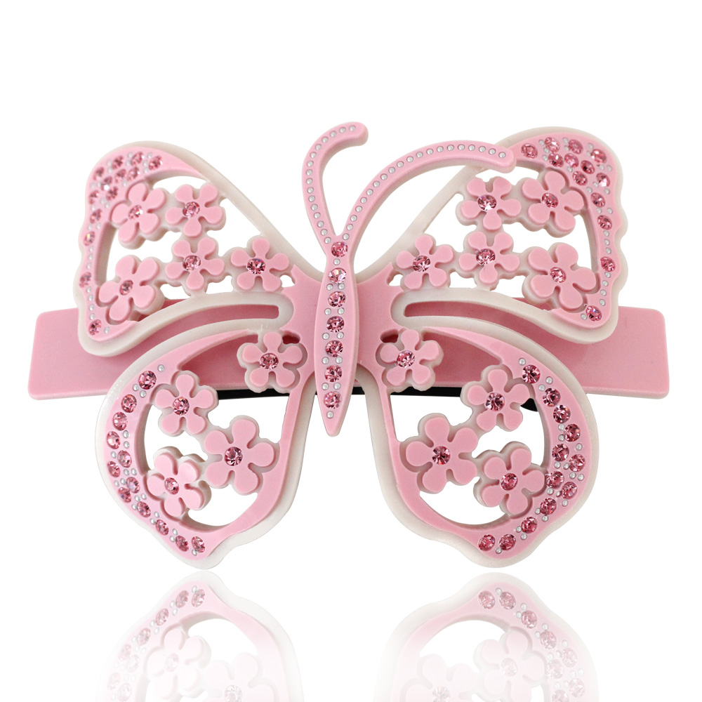 Luxury Alexander Hair Jewelry Butterfly Cellulose Acetate with Rhinestone Hair Clips for Women Hair Accessories Free