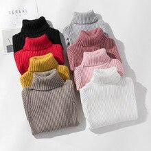 여자 스웨터 터틀넥 솔리드 컬러 뜨개질 스웨터 가을 어린이 의류 화이트 풀오버 키즈 탑스 2 t 3 t 4 t 8 12 13 년