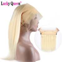 Brazilian Straight Pre Plucked 613 Blonde 360 Lace Frontal 100% Human Hair Natural Hairline Remy Hair Weave Lucky Queen Hair