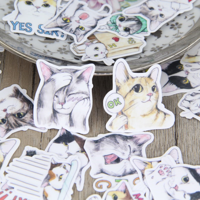 40 Pcs/lot Cute Hand Painted Cat Sticker Decal For Phone Car Case Waterproof  Laptop Album Diary Backpack Kids Toy Stickers